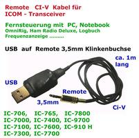USB  auf CI-V Remote, ICOM  Verbindungskabel, sauber, flexibel, neuwertig, z.B für